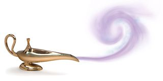 Genie lamp. Magic genie lamp with purple smoke Royalty Free Stock Images