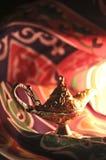 Genie Lamp. With khyamia fabrics Royalty Free Stock Images