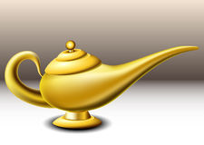 Genie lamp. Golden genie lamp on brown background stock illustration