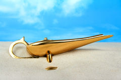 Genie lamp business & finance concept Royalty Free Stock Photos