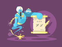 Genie from lamp character illustration Royalty Free Stock Images