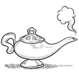 Genie lamp sketch Royalty Free Stock Image
