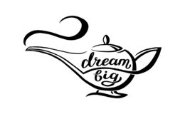 Genie lamp with unique hand written quote - dream big, lettering composition. Vector Illustration with magic object from. Arabian fairy tale vector illustration