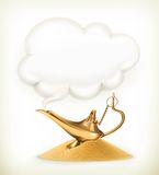 Genie lamp, vector illustration Stock Image