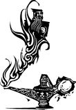 Genie of the lamp. Woodcut expressionistic image of a magic genie or Djinn emerging from an oil lamp vector illustration