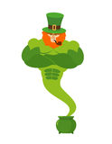 Genie leprechaun. magical spirit of St. Patrick's Day Green pot Stock Photos