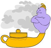 Genie In A Magic Lamp. This illustration depicts a purple genie coming out of a magic oil lamp royalty free illustration