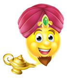Genie Magic Lamp Emoji. Cartoon emoticon emoji genie like in the story of Aladdin coming out of a magic lamp stock illustration