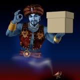 Genie met een doos. Royalty-vrije Stock Foto's