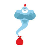 Genie is out of bag Santa Claus. Magic spirit with a beard and. Mustache. Christmas clothes. Strong is fantastic person vector illustration