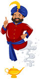 Genie in red shirt came out of lamp. Illustration stock illustration