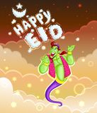 Genie wishing Eid mubarak Royalty Free Stock Photos