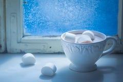 Genießen Sie Ihre heiße Weihnachtsschokolade mit Eibischen Stockfotografie