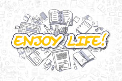 Genießen Sie lebens- Karikatur-Gelb-Wort Die goldene Taste oder Erreichen für den Himmel zum Eigenheimbesitze Lizenzfreie Stockfotografie