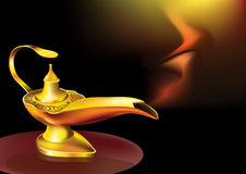 Genies lamp. Illustration of genies lamp in magical color background Royalty Free Stock Images
