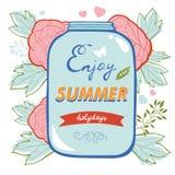 Geniet de zomer van kaart met bloemen en glaskruik Stock Afbeeldingen