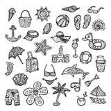 Geniet de zomer van vakantie Geplaatste de pictogrammen van het strand Stock Afbeelding