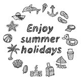 Geniet de zomer van vakantie Geplaatste de pictogrammen van het strand Royalty-vrije Stock Foto