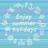 Geniet de zomer van vakantie Geplaatste de pictogrammen van het strand Stock Fotografie