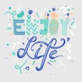 Geniet het leven van het van letters voorzien Stock Afbeelding