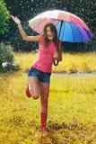 Geniet van de regen Stock Fotografie