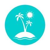 Geniet van de zomer Vectorillustratie met zon, overzees, palm, hemel Stock Afbeelding