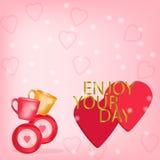 Geniet van uw dagachtergrond met twee rode harten Royalty-vrije Stock Afbeelding