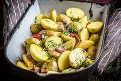 Geniet van uw geroosterde aardappels met hebrs Stock Foto