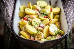 Geniet van uw geroosterde aardappels met rozemarijn Royalty-vrije Stock Afbeeldingen