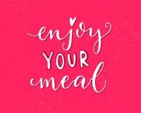 Geniet van uw maaltijd Roze vectorontwerp met moderne kalligrafie voor koffiekaarten en affiches Stock Afbeelding