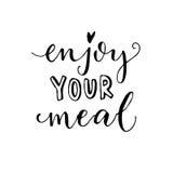 Geniet van uw maaltijd Vectorkalligrafie voor koffiekaarten en affiches Stock Foto
