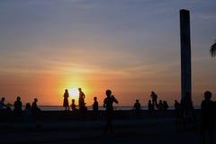 Genieten-de-zonsondergang Stock Afbeelding