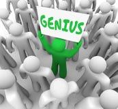 Genio Person Holding Sign Smart Intelligent brillante ilustración del vector