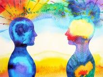Genio, poder del chakra, pensamiento abstracto de la inspiración junto libre illustration