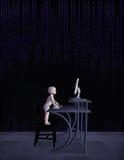 Genio Prodigy del bebé en el ejemplo del trabajo Imagen de archivo libre de regalías