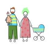 Genitori della famiglia con la carrozzina del bambino e del bambino Fotografia Stock