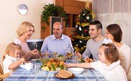 Genitori felici con i bambini ed i nipoti adulti Immagini Stock
