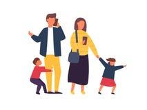 Genitori occupati con gli smartphones mobili Famiglia con i bambini Illustrazione di vettore della gente fotografie stock libere da diritti