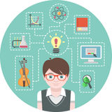 Genius Boy Concept. Conceptual illustration of a genius boy and symbols of his various interests Royalty Free Stock Photo