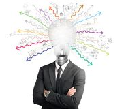 Genius. Concept of genius with illuminated light bulb in head Royalty Free Stock Photography