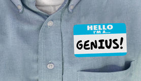 Genius Educated Name Tag Sticker Word Shirt Royalty Free Stock Photos