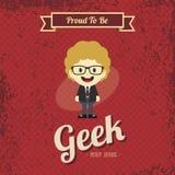 Genius geek retro cartoon Stock Images