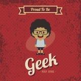 Genius geek retro cartoon Stock Image