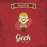 Genius geek retro cartoon Stock Photography