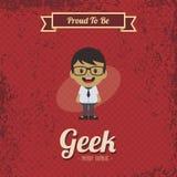 Genius geek retro cartoon Royalty Free Stock Photography