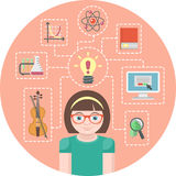 Genius Girl Concept. Conceptual illustration of a genius girl and symbols of her various interests Stock Photos