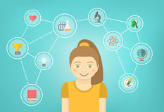 Genius Girl Interests Conceptual Infographics Stock Images