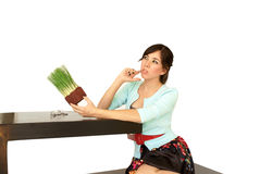 Genius Idea. Sexy girl with genius green idea Royalty Free Stock Photo
