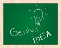 Genius idea on blackboard. Genius idea drawn on blackboard Stock Photo