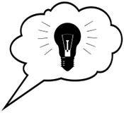 Genius idea - lightbulb in speech bubble cloud. Ve Stock Image